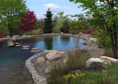 Плавательный пруд, отделка борта натуральным камнем