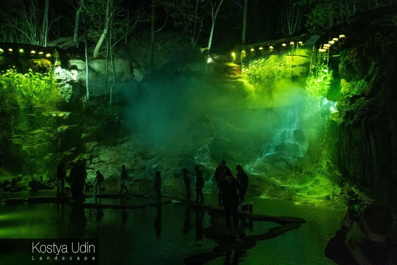 Подсветка водопада Умань
