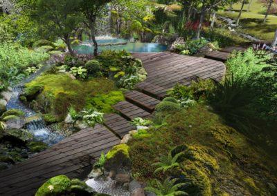 Концепция зоны отдыха — лесной пейзаж с водопадом