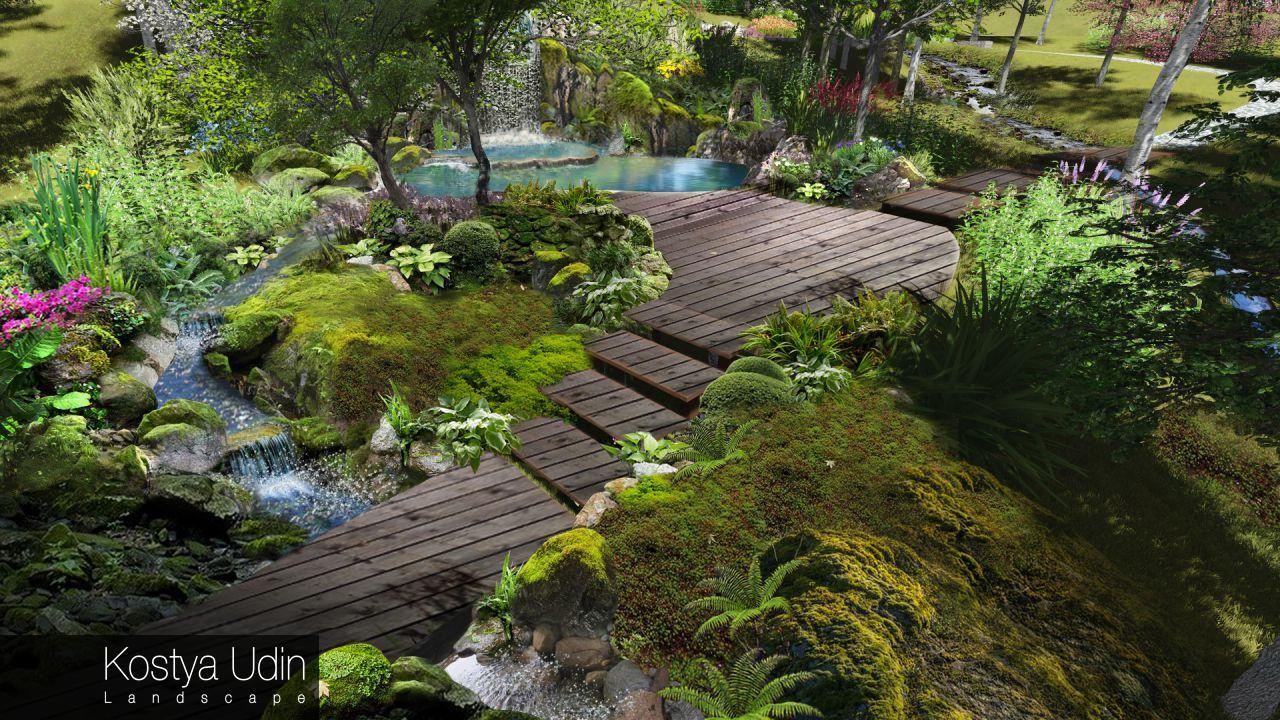 Концепция зоны отдыха - лесной пейзаж с водопадом