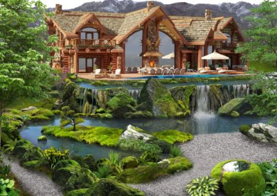Концепция усадьбы- каскад озёр с водопадами