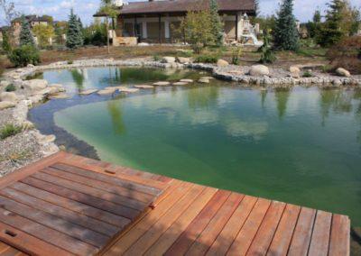 Плавательный пруд декорирован камнем