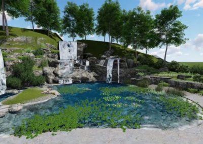 Концепция водопад Трезубец Посейдона