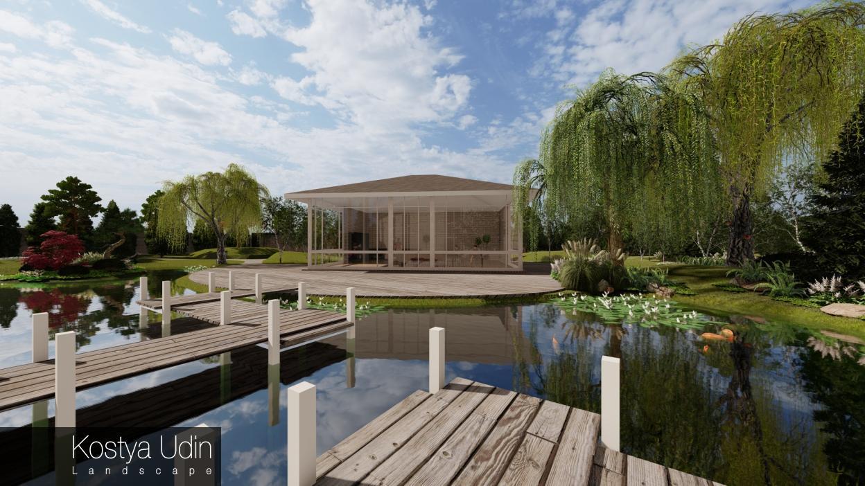 Озеро с мостиком для японского сада