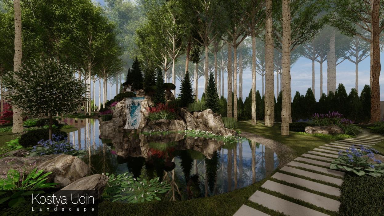 Водопад с декоративным озером