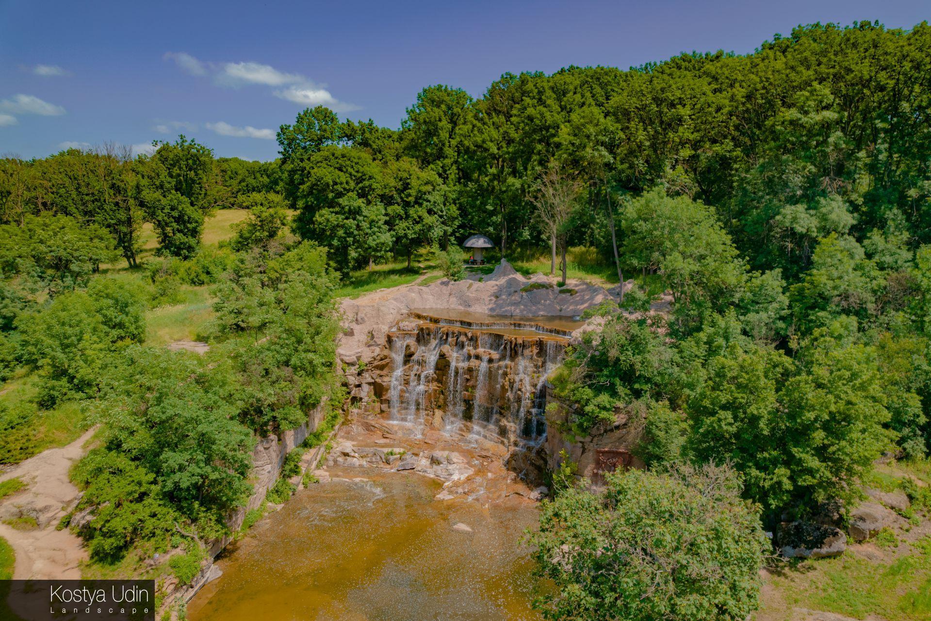 Водопад Горгона, вид с высоты птичьего полёта